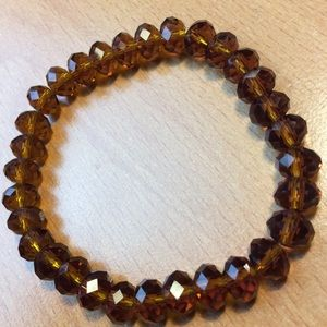 New Brown Glass Stretch Bead Necklace